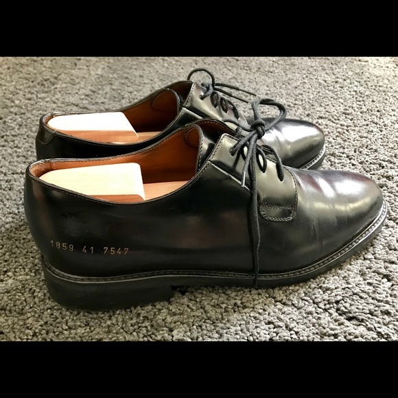Common Projects Black Shine Derby Size
